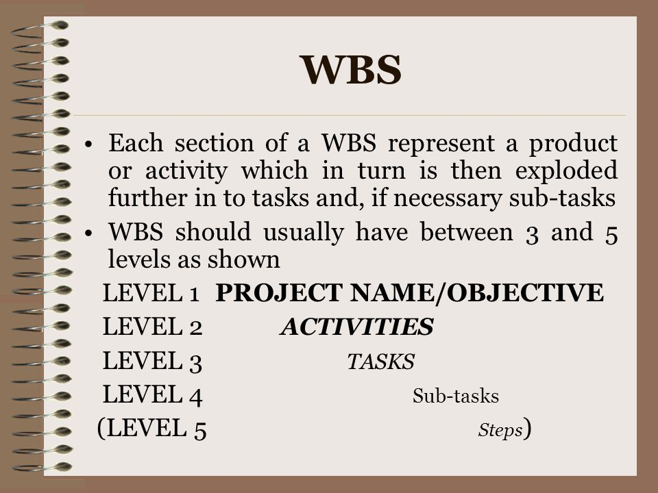 WBS Each section of a WBS represent a product or activity which in turn is then exploded further in to tasks and, if necessary sub-tasks.