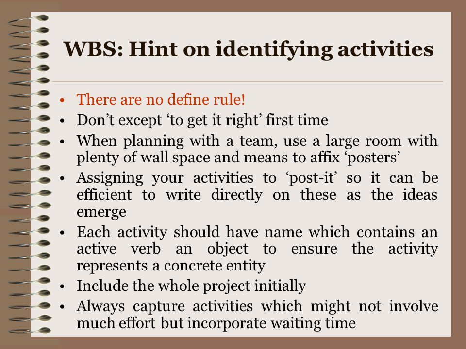 WBS: Hint on identifying activities