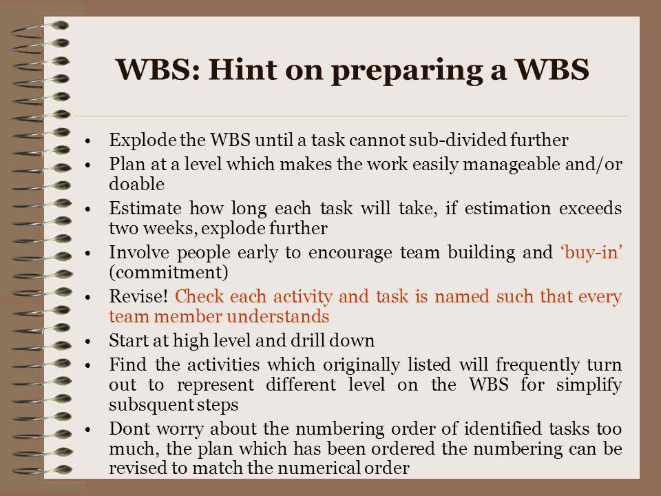 WBS: Hint on preparing a WBS