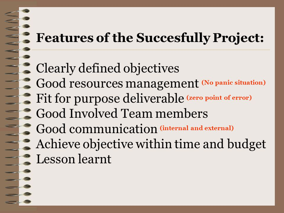 Features of the Succesfully Project: