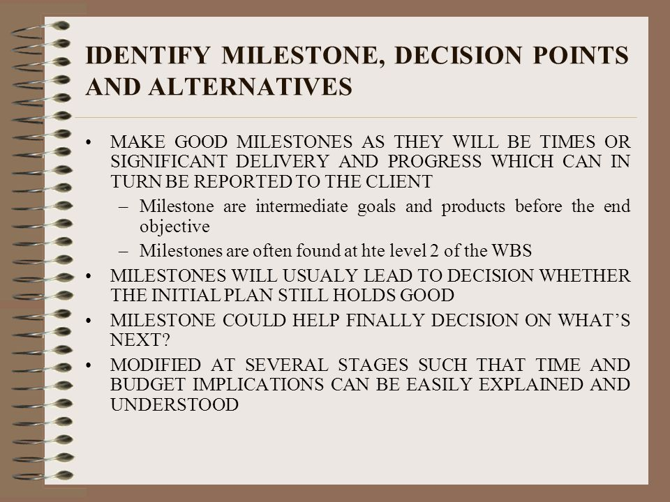 IDENTIFY MILESTONE, DECISION POINTS AND ALTERNATIVES