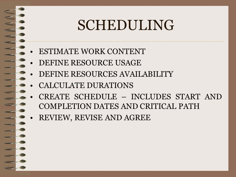 SCHEDULING ESTIMATE WORK CONTENT DEFINE RESOURCE USAGE