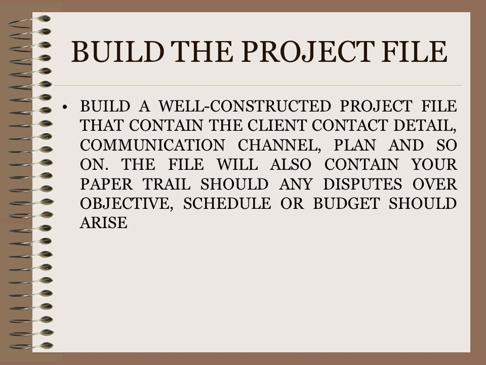 BUILD THE PROJECT FILE