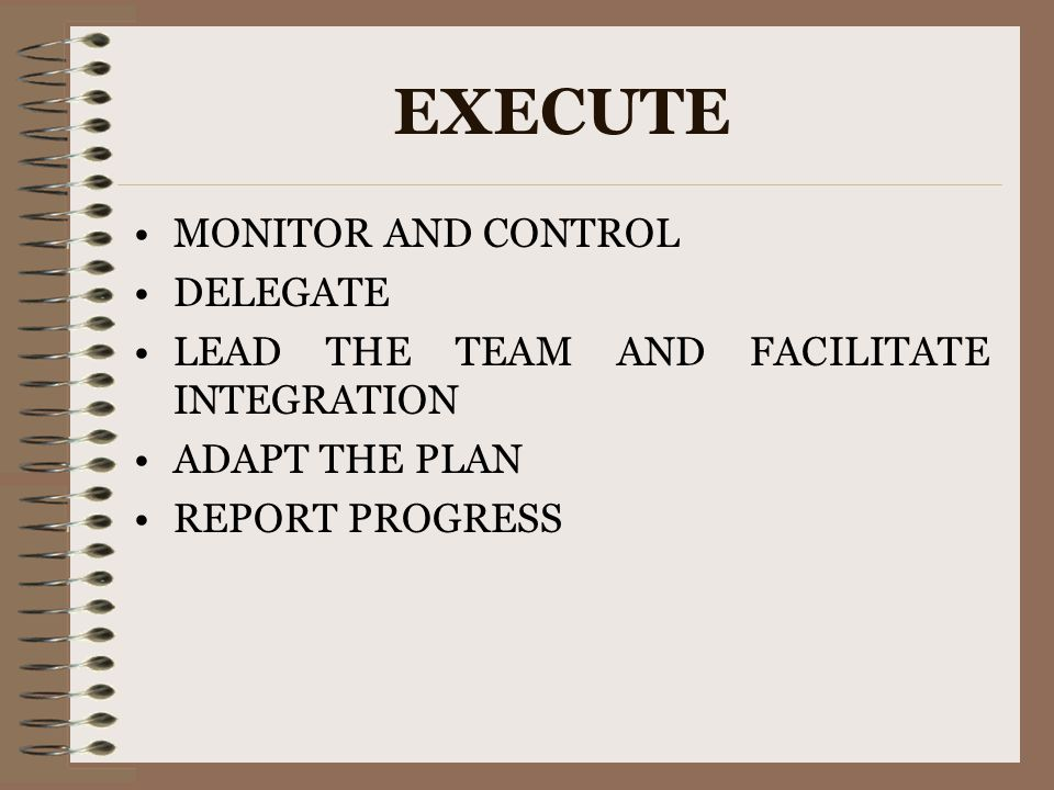 EXECUTE MONITOR AND CONTROL DELEGATE