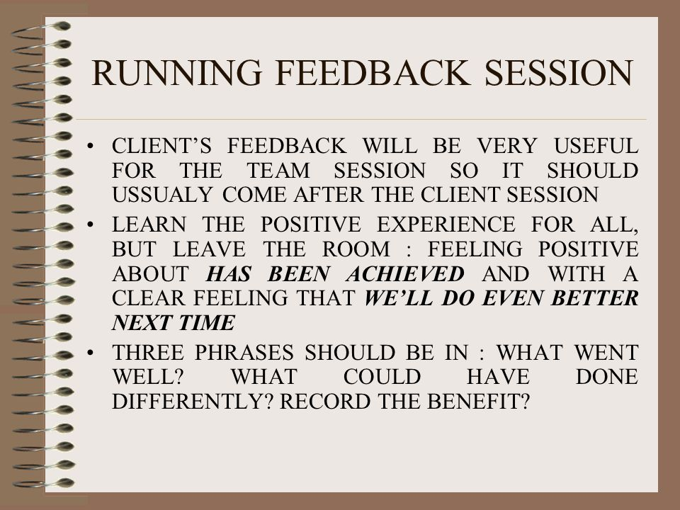 RUNNING FEEDBACK SESSION