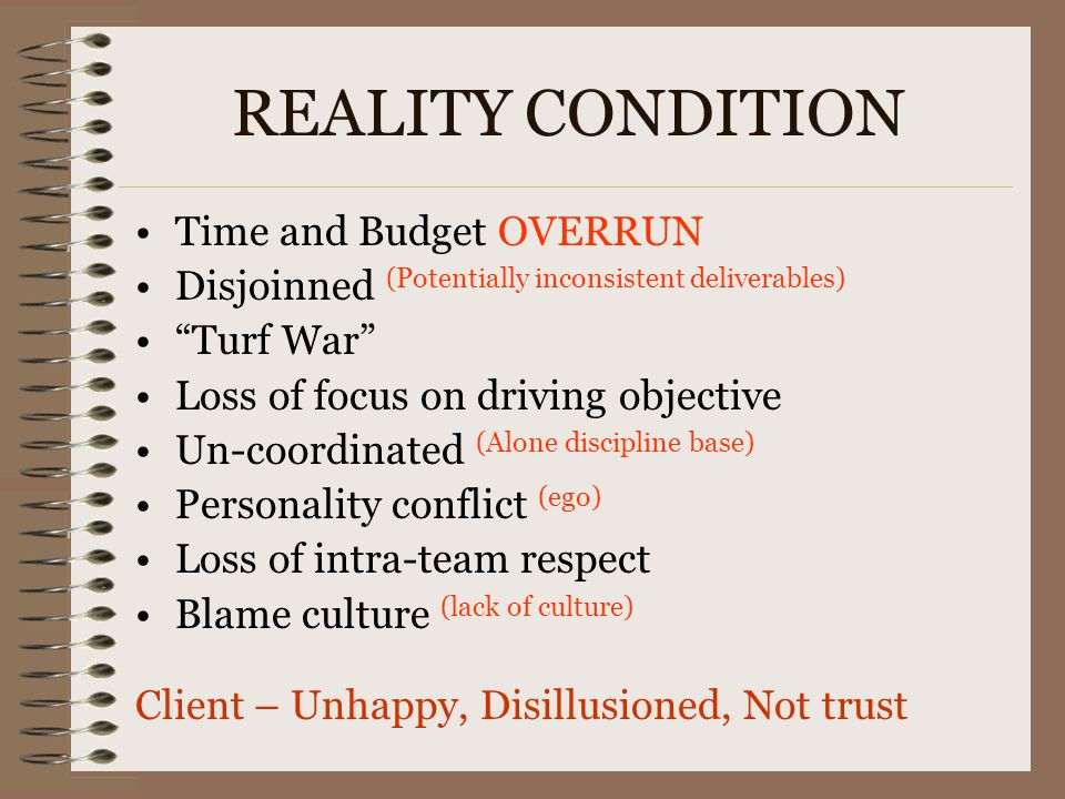 REALITY CONDITION Time and Budget OVERRUN
