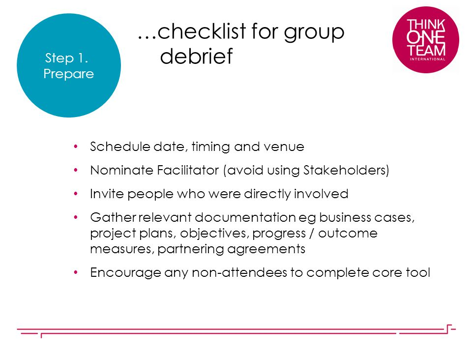 …checklist for group debrief