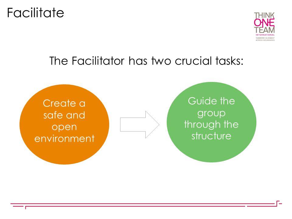 Facilitate The Facilitator has two crucial tasks: