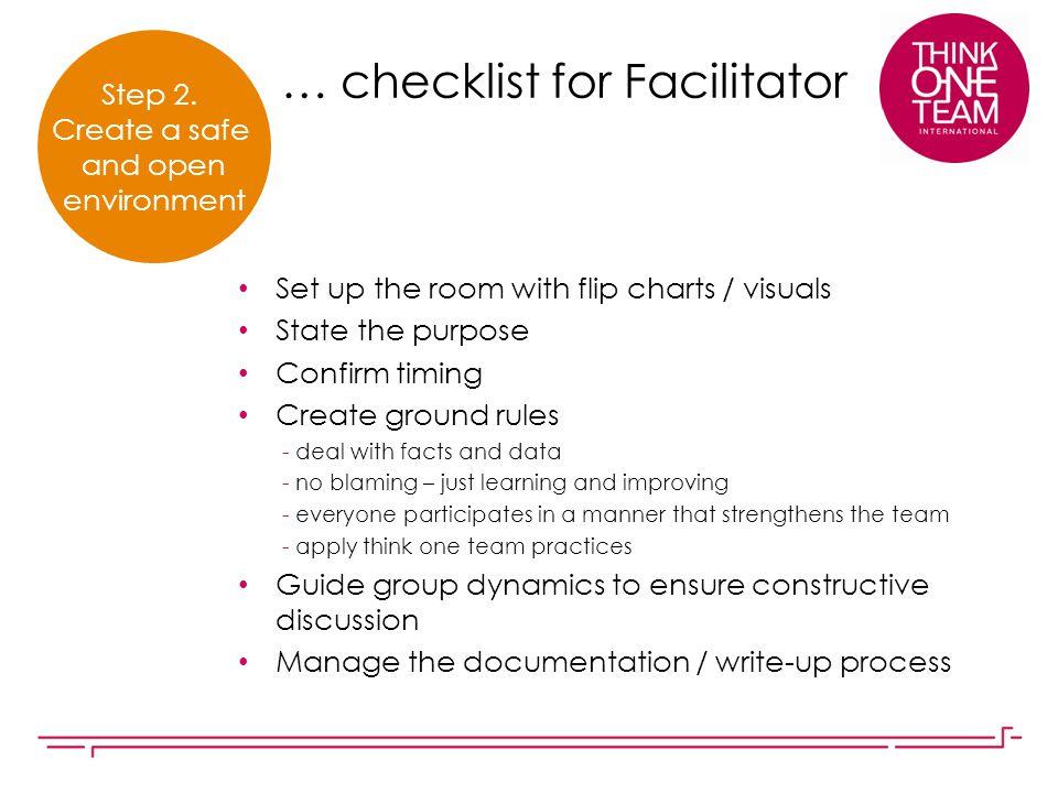 … checklist for Facilitator