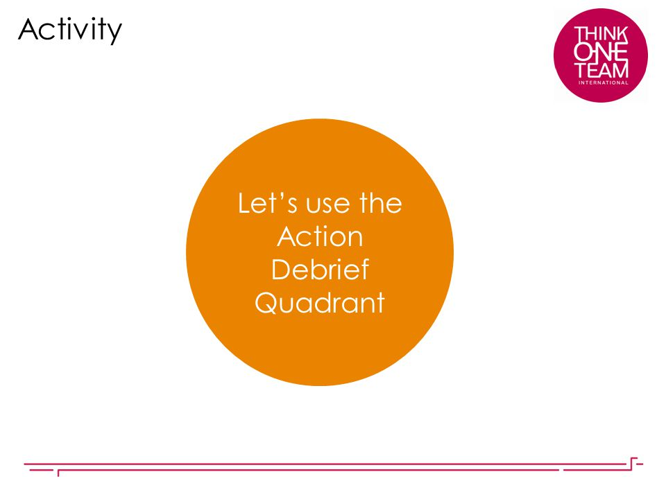 Let's use the Action Debrief Quadrant