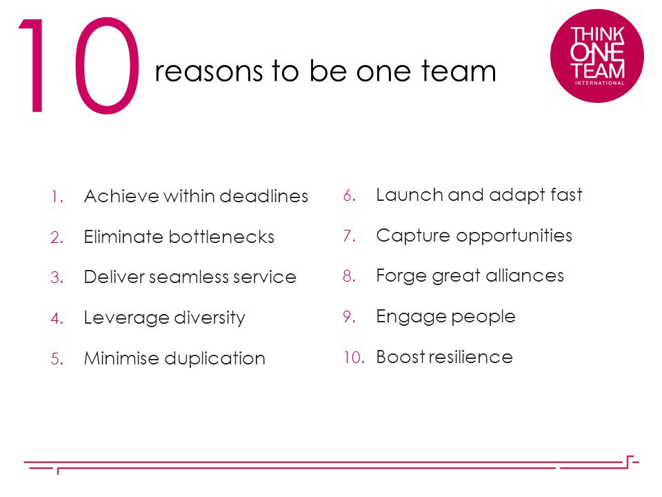 10 reasons to be one team Achieve within deadlines