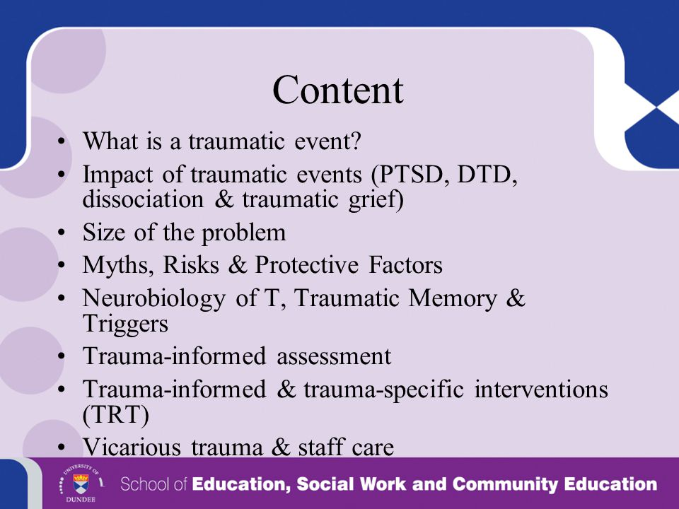 Content What is a traumatic event