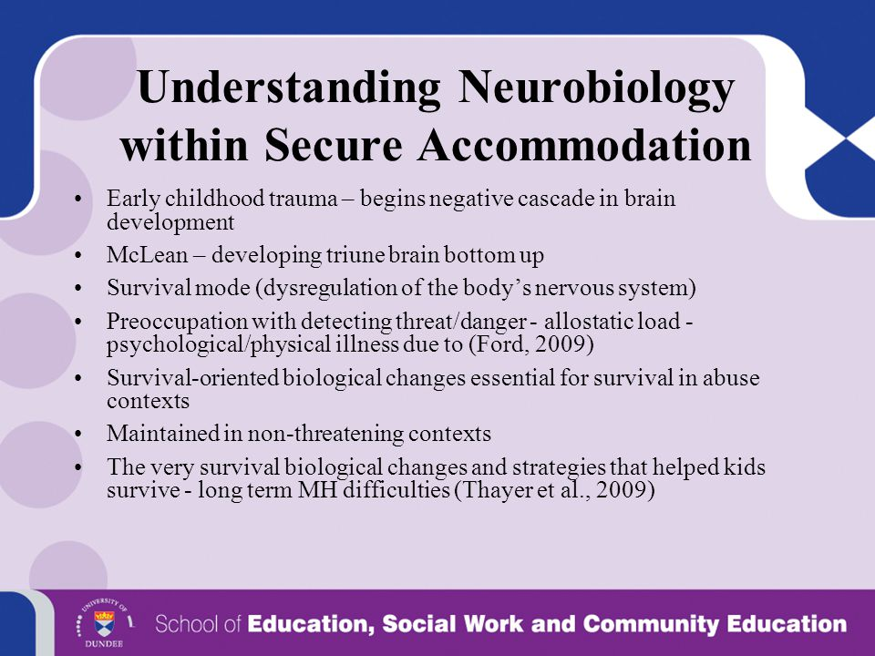 Understanding Neurobiology within Secure Accommodation