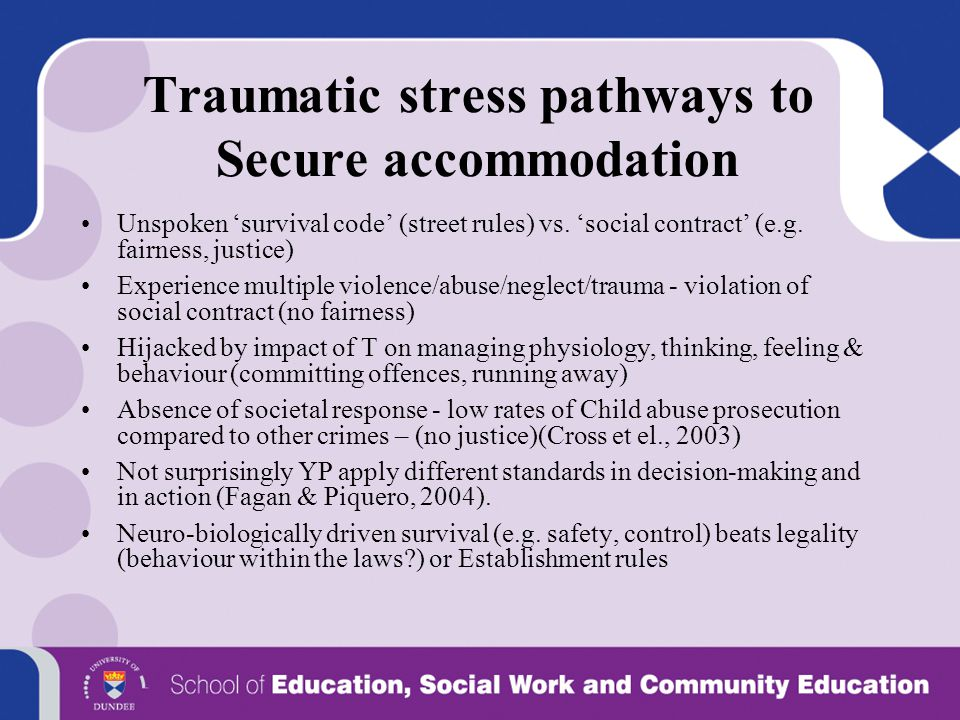 Traumatic stress pathways to Secure accommodation