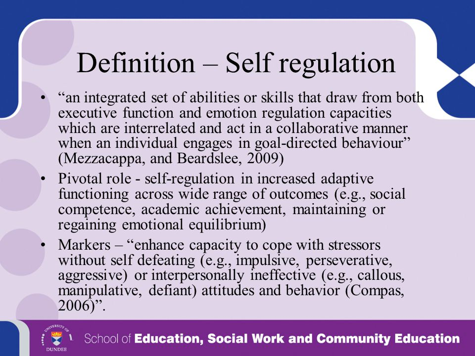 Definition – Self regulation