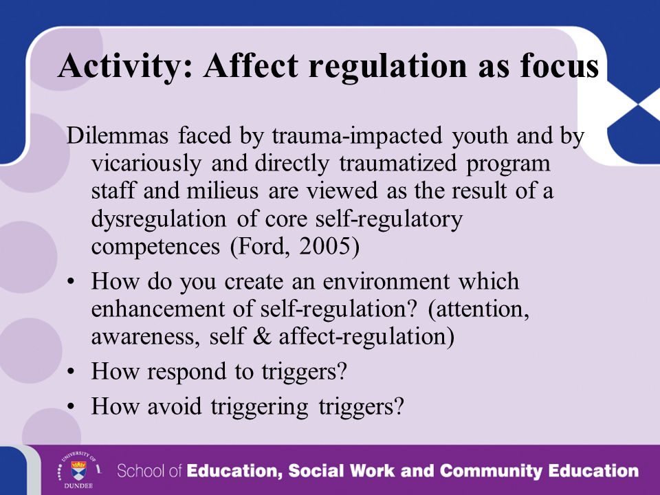 Activity: Affect regulation as focus