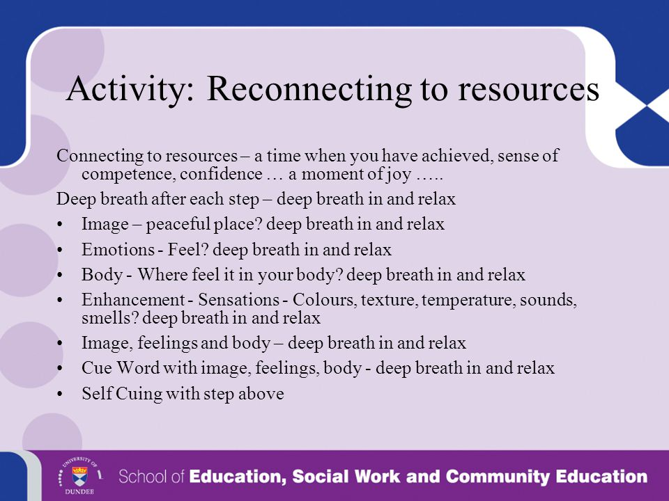 Activity: Reconnecting to resources