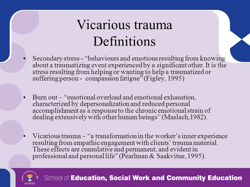 Vicarious trauma Definitions
