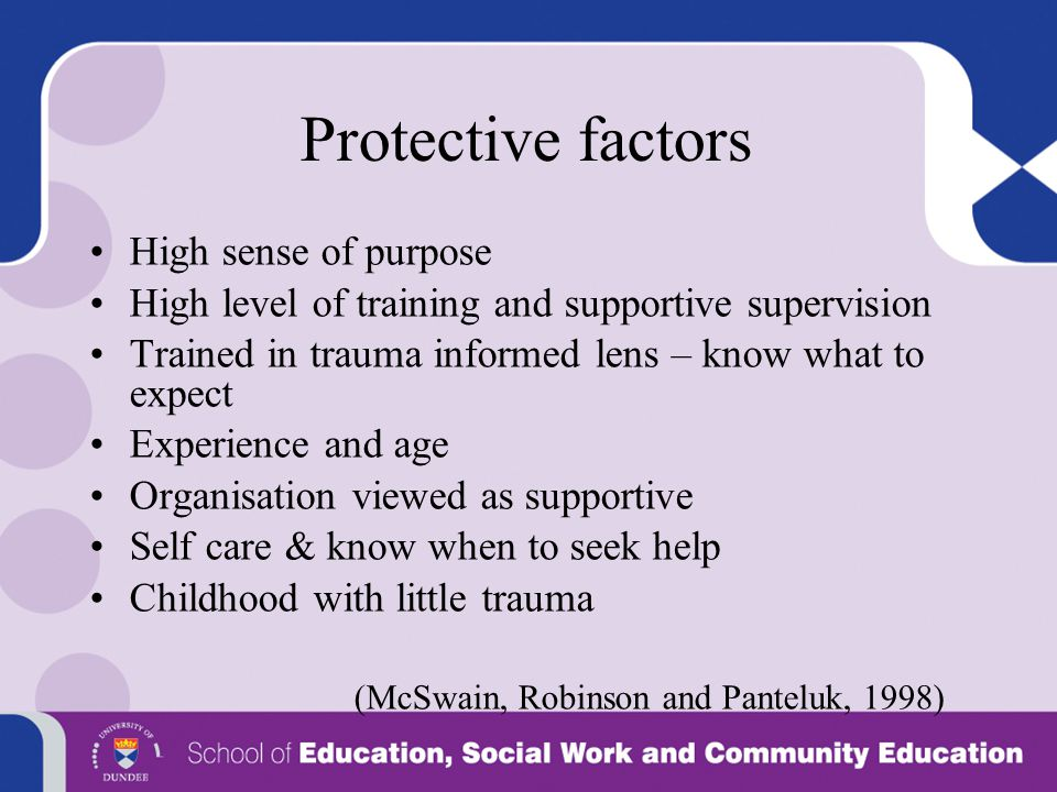 Protective factors High sense of purpose