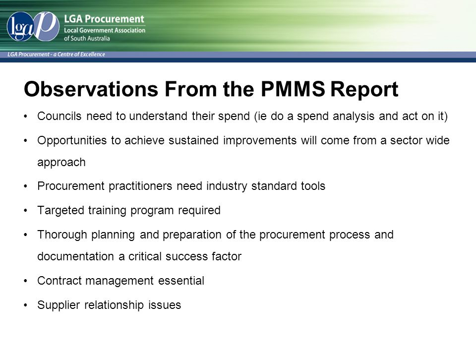 Observations From the PMMS Report