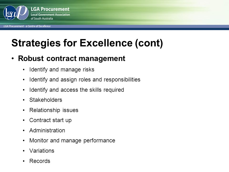 Strategies for Excellence (cont)