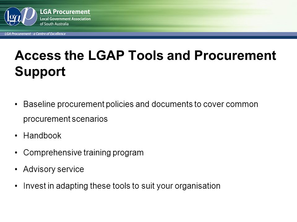 Access the LGAP Tools and Procurement Support