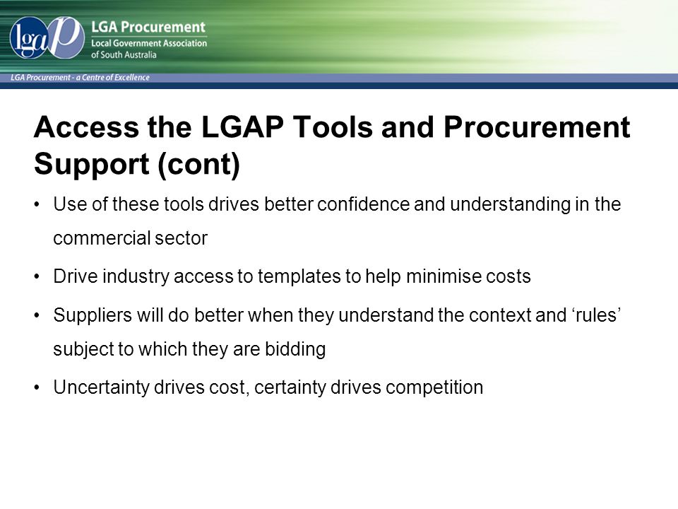 Access the LGAP Tools and Procurement Support (cont)