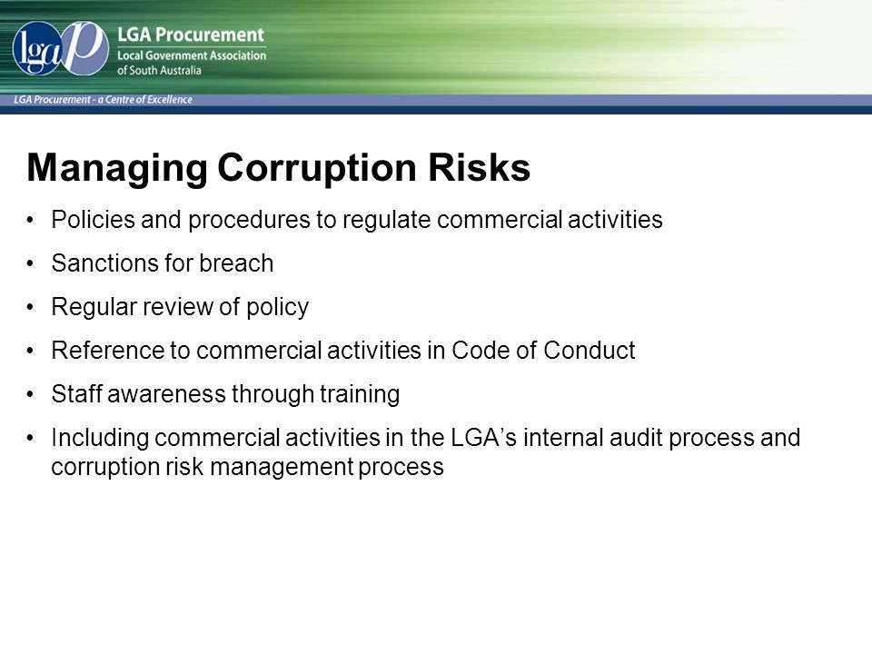 Managing Corruption Risks