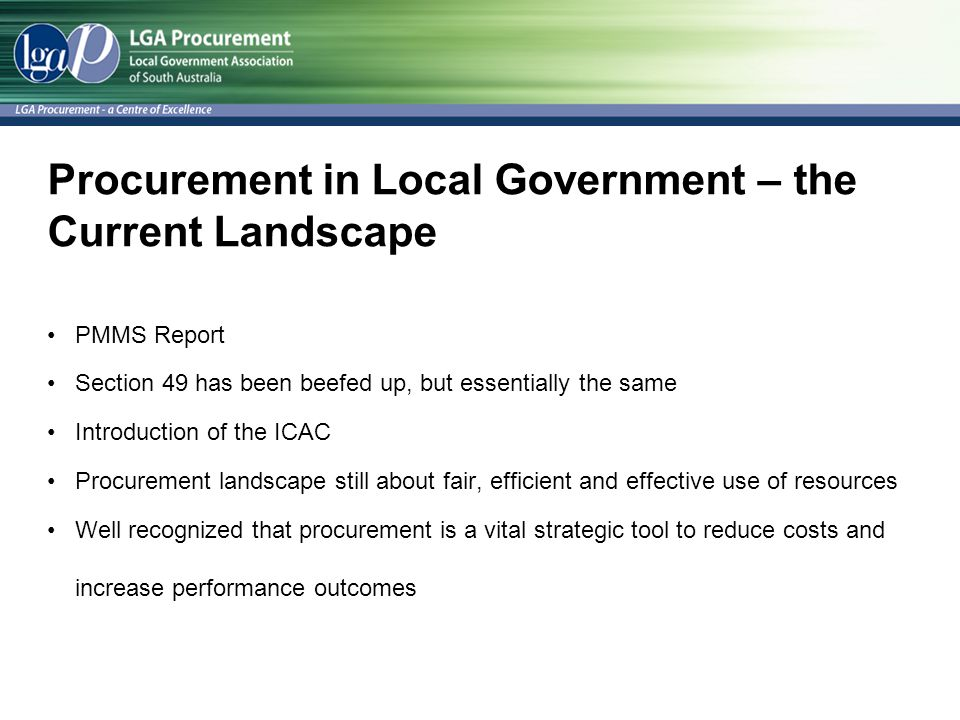 Procurement in Local Government – the Current Landscape