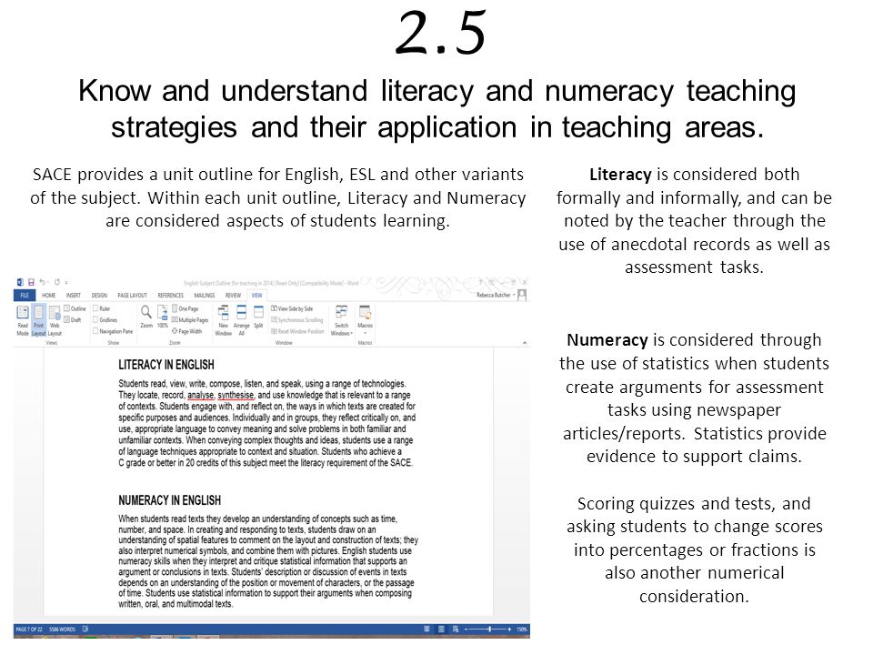 2.5 Know and understand literacy and numeracy teaching strategies and their application in teaching areas.