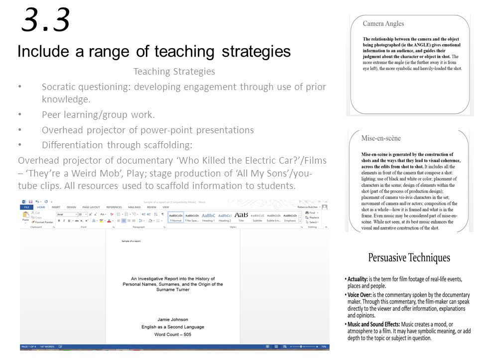 3.3 Include a range of teaching strategies