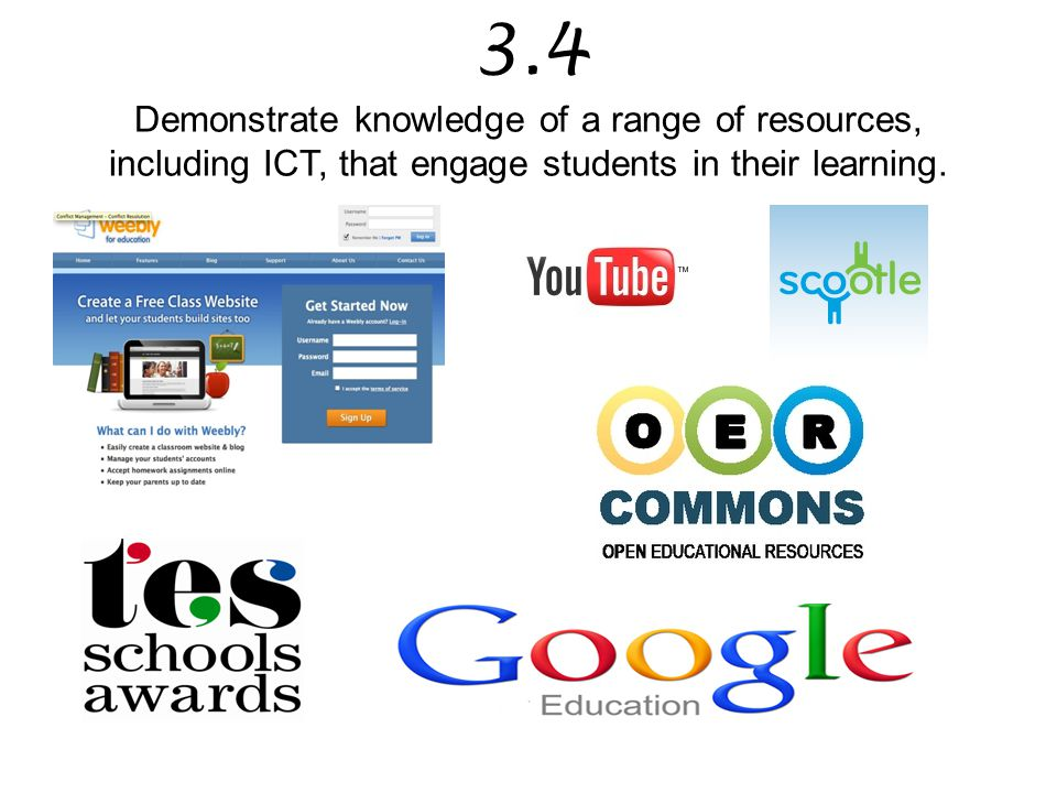 3.4 Demonstrate knowledge of a range of resources, including ICT, that engage students in their learning.