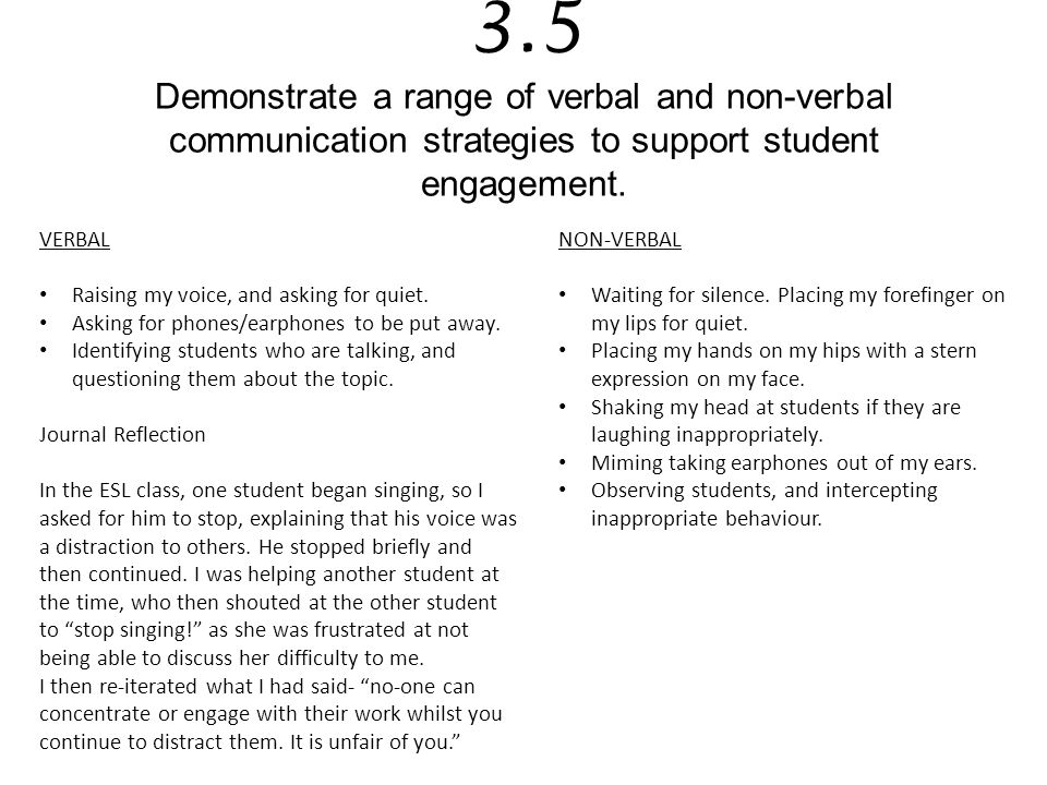 3.5 Demonstrate a range of verbal and non-verbal communication strategies to support student engagement.