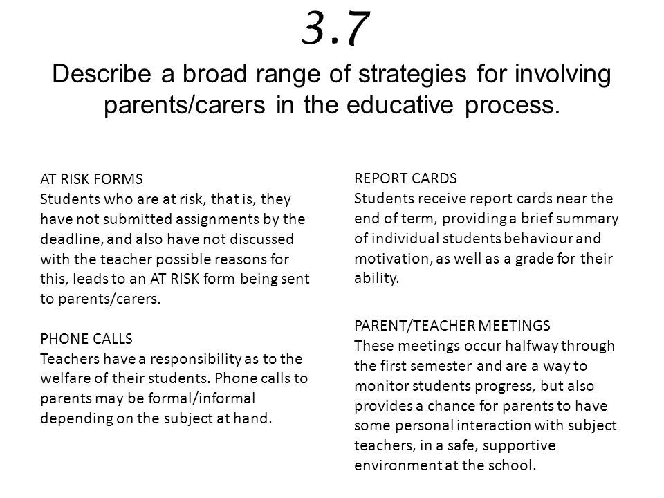 3.7 Describe a broad range of strategies for involving parents/carers in the educative process.