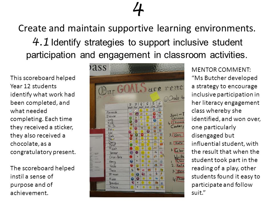 4 Create and maintain supportive learning environments.