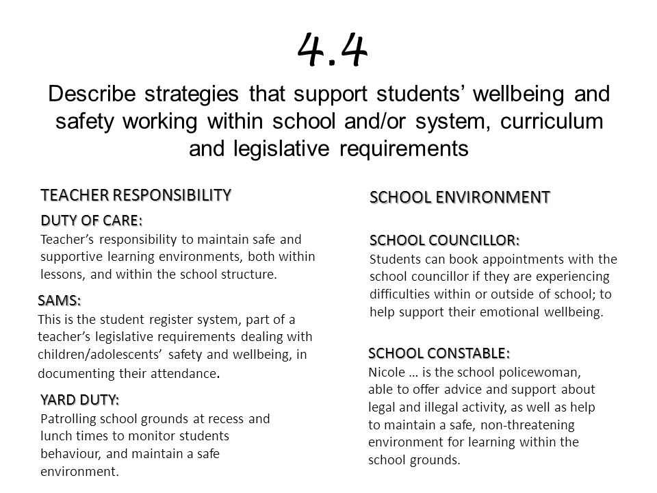 4.4 Describe strategies that support students' wellbeing and safety working within school and/or system, curriculum and legislative requirements
