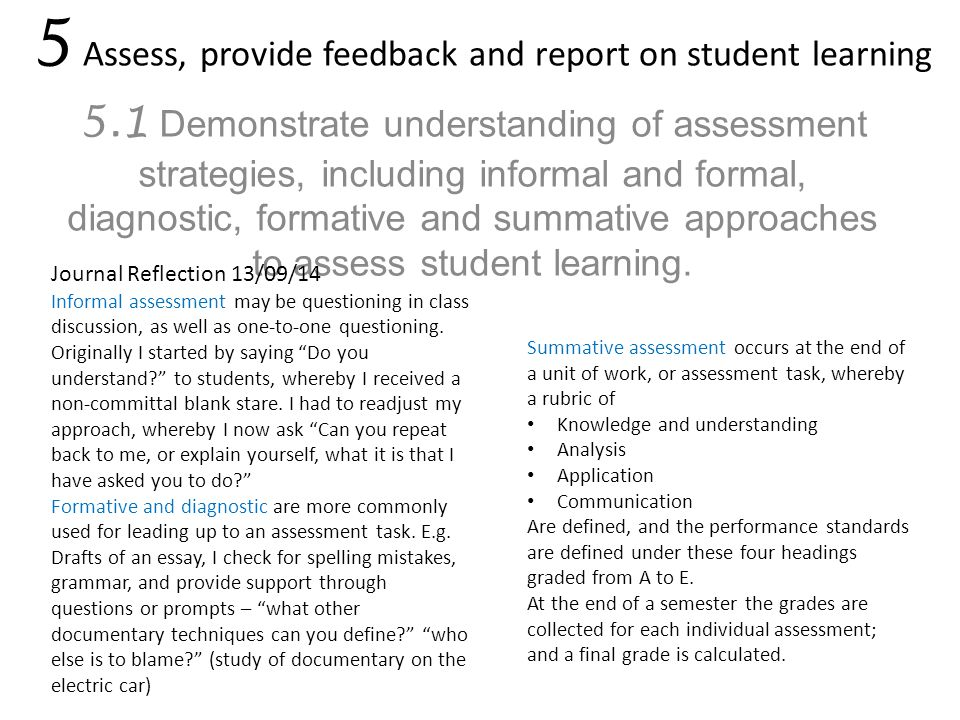 5 Assess, provide feedback and report on student learning