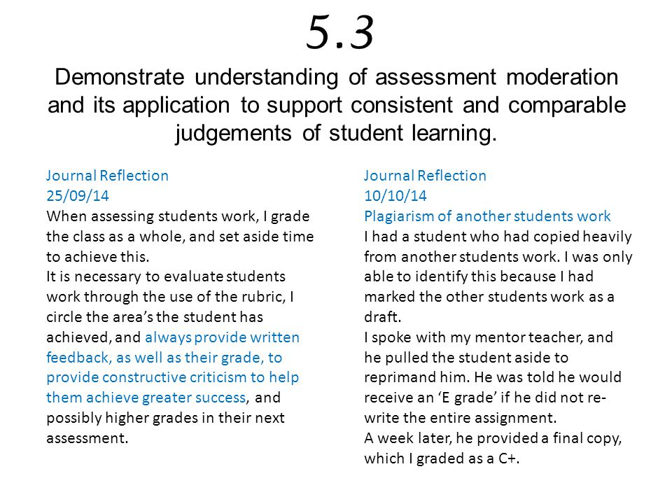 5.3 Demonstrate understanding of assessment moderation and its application to support consistent and comparable judgements of student learning.