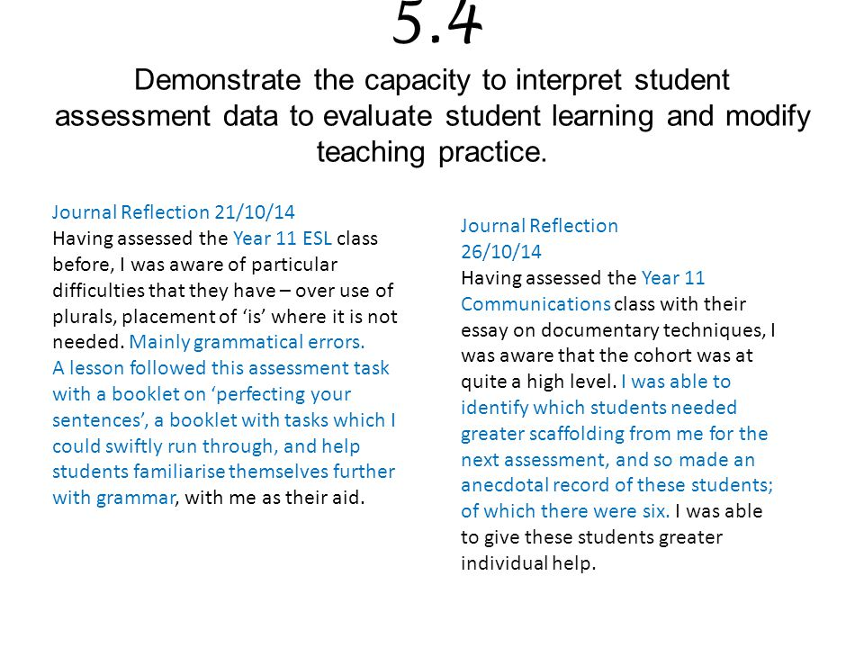 5.4 Demonstrate the capacity to interpret student assessment data to evaluate student learning and modify teaching practice.