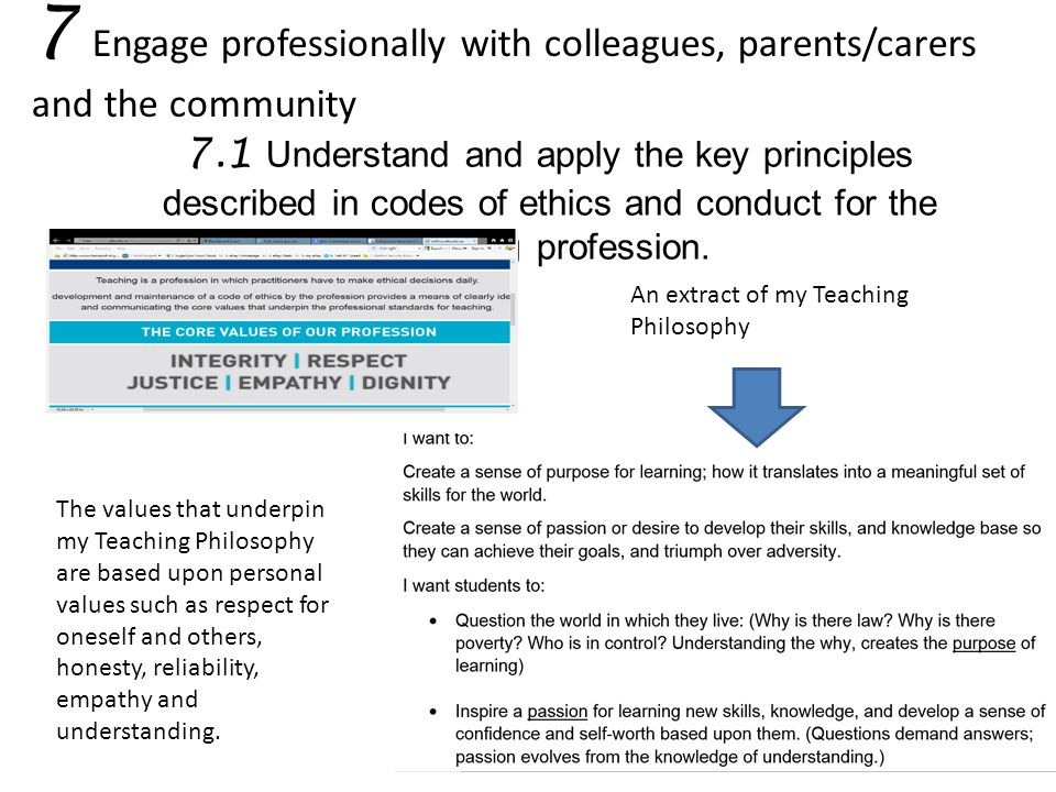 7 Engage professionally with colleagues, parents/carers and the community