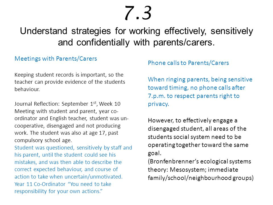 7.3 Understand strategies for working effectively, sensitively and confidentially with parents/carers.