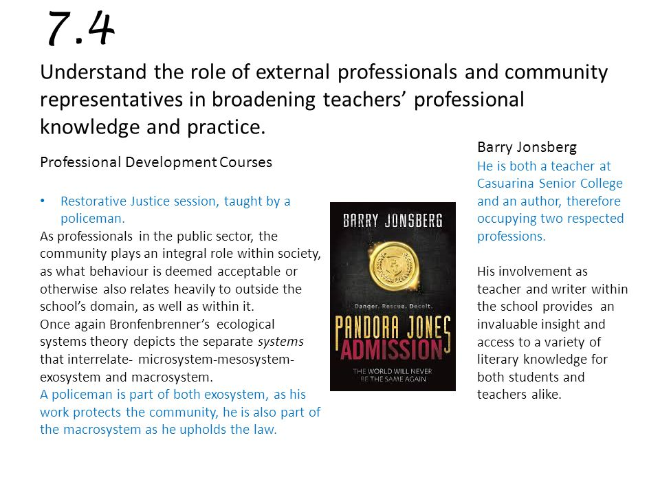 7.4 Understand the role of external professionals and community representatives in broadening teachers' professional knowledge and practice.