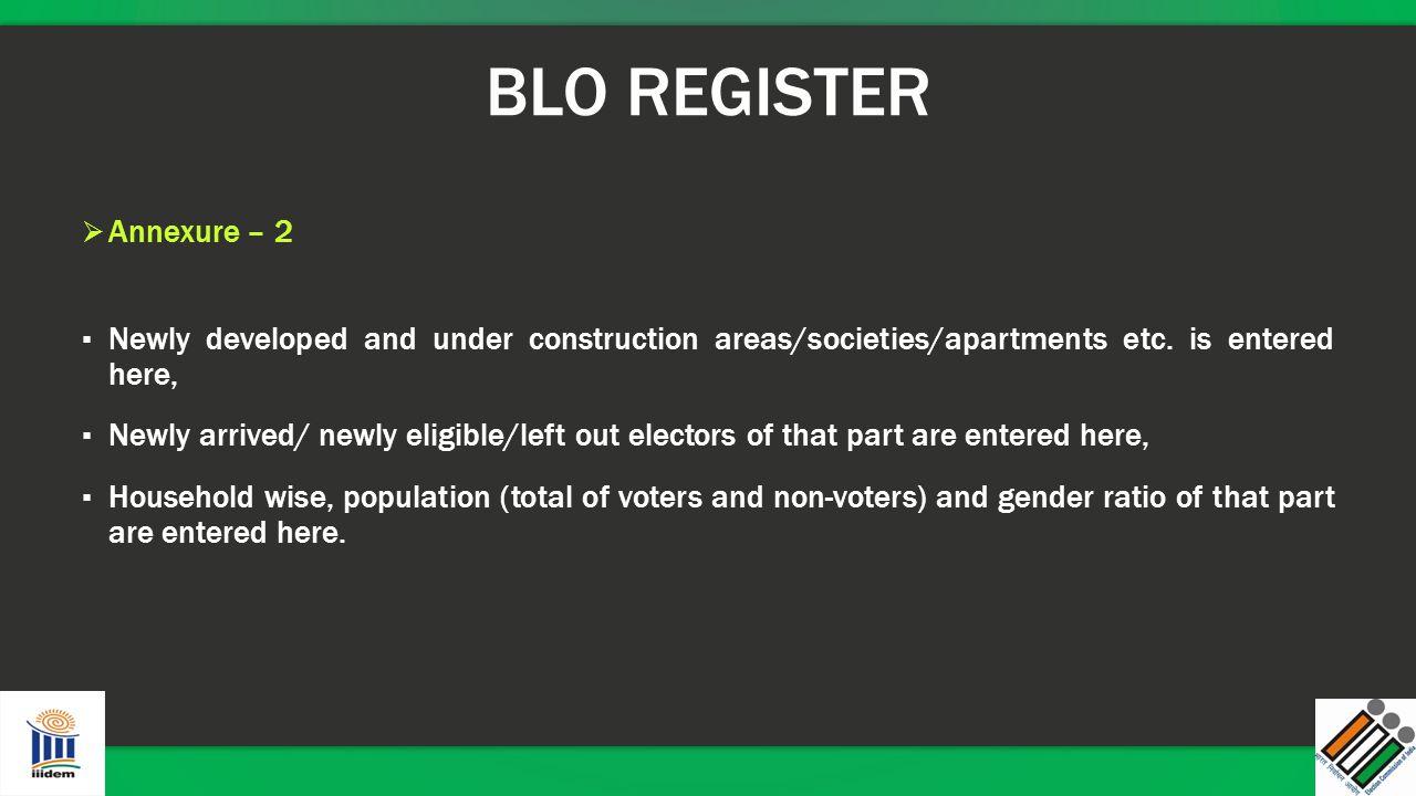 BLO REGISTER Annexure – 2