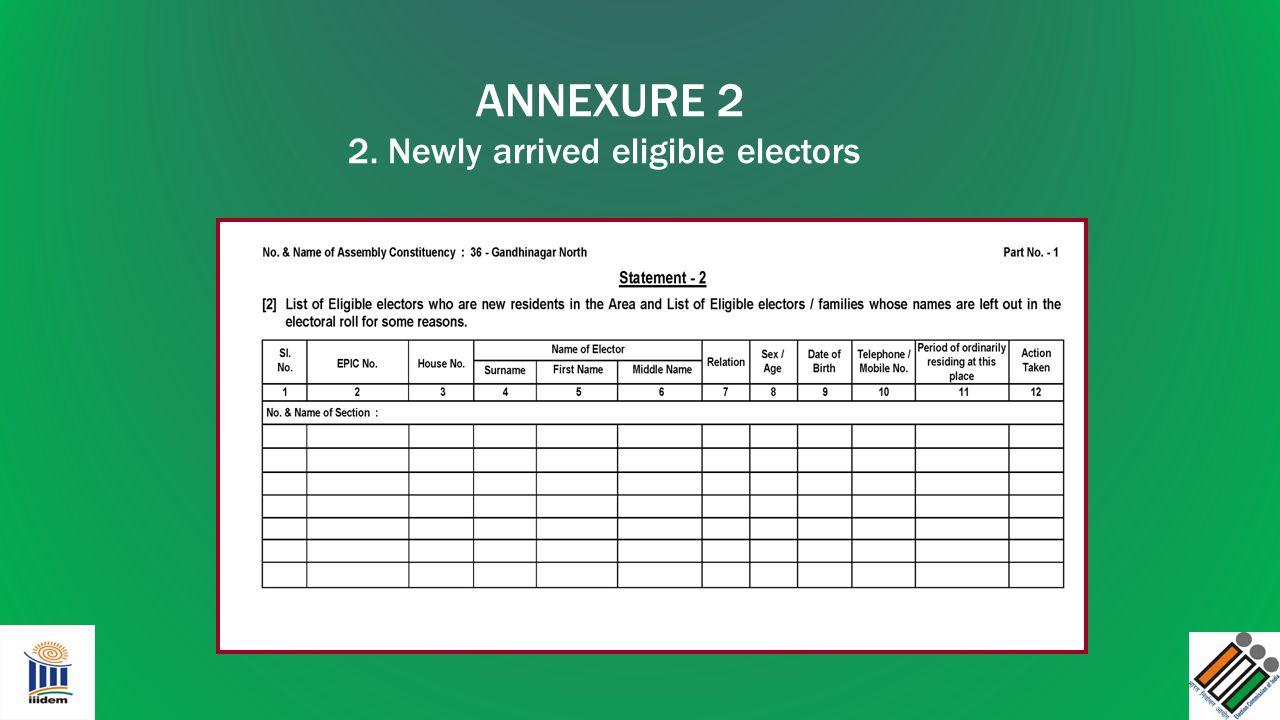 2. Newly arrived eligible electors
