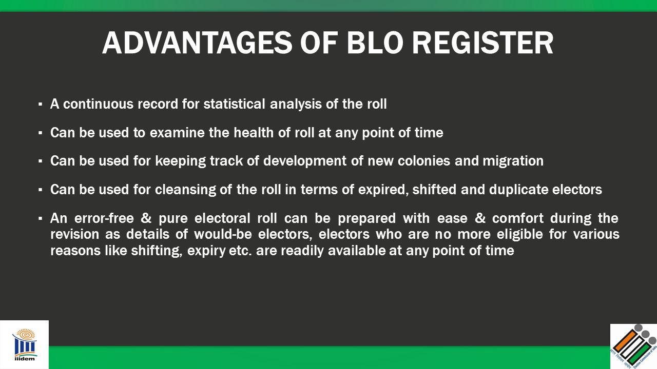 ADVANTAGES OF BLO REGISTER