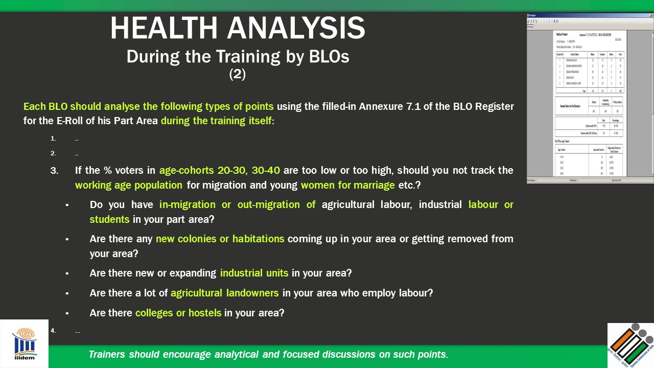 HEALTH ANALYSIS During the Training by BLOs (2)