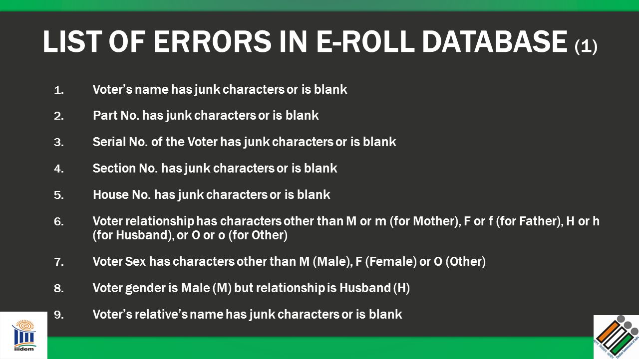 LIST OF ERRORS IN E-ROLL DATABASE (1)