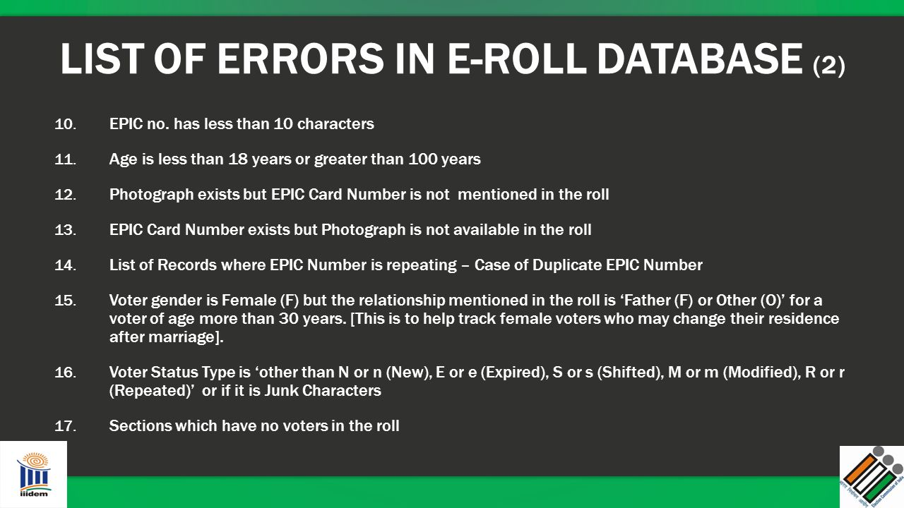 LIST OF ERRORS IN E-ROLL DATABASE (2)