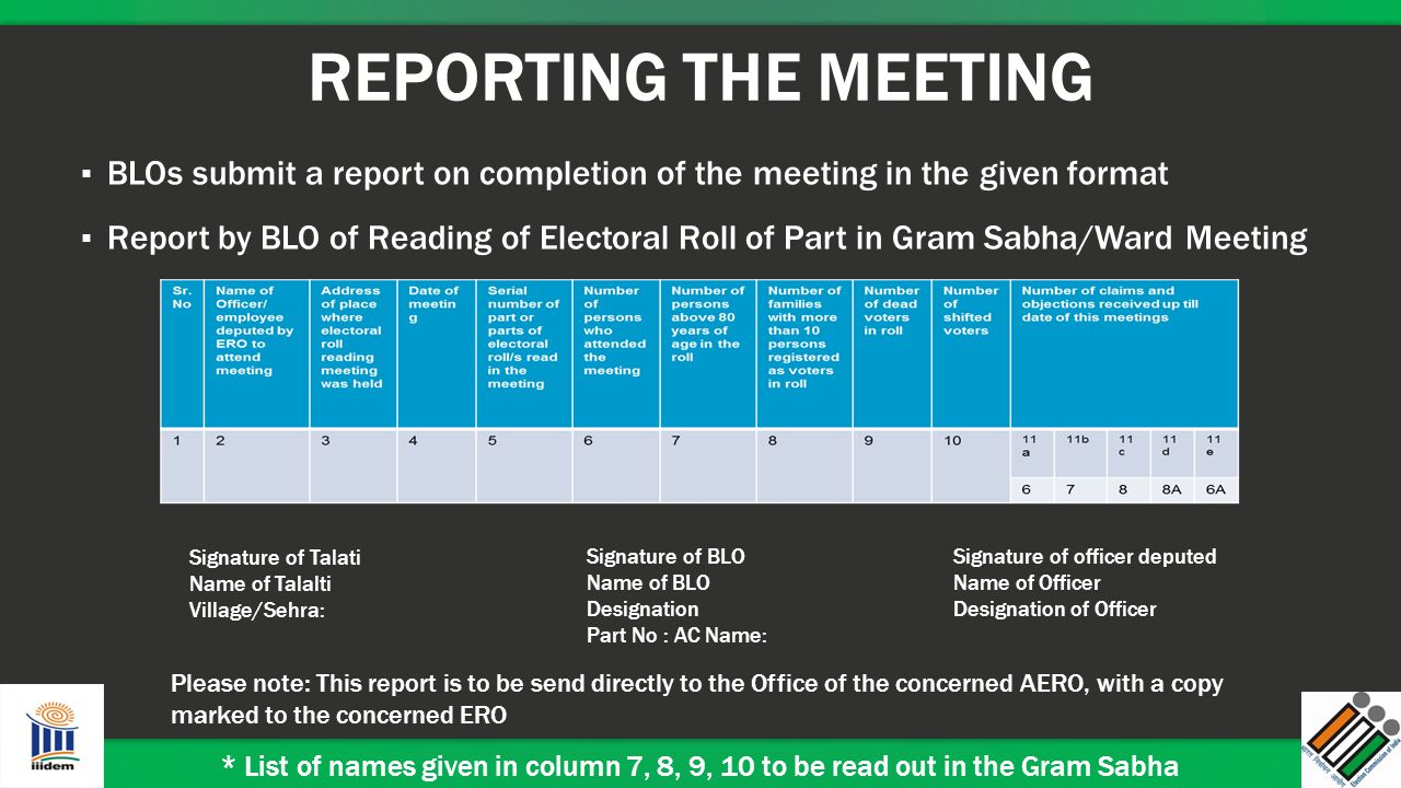 REPORTING THE MEETING BLOs submit a report on completion of the meeting in the given format.