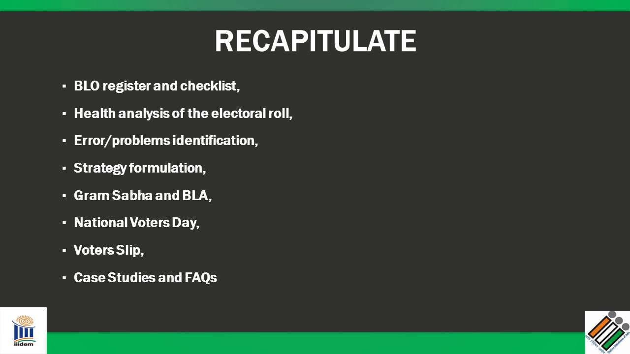 RECAPITULATE BLO register and checklist,